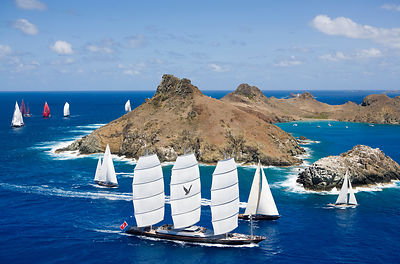 Maltese Falcon superyacht racing in the St Barths Bucket, West Indies, March 2009.