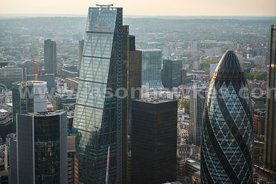 Aerial view of the Leadenhall Building and 30 St Mary Axe, London