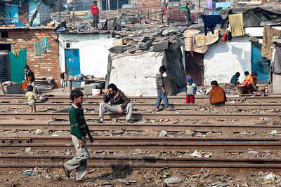 View of characterful housing along the railway line near Delhi Cantt, Delhi, India