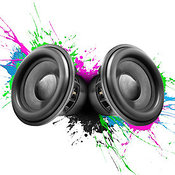 Music speakers colorful design - transparent background