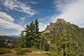 Mt. Forgotten with Glacier Peak in the distance viewed from Mt. Forgotten Meadows, Mt. Baker-Snoqualmie National Forest, Casc...
