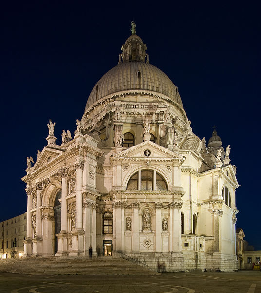 Night View of Basilica di Santa Maria della Salute in Venice