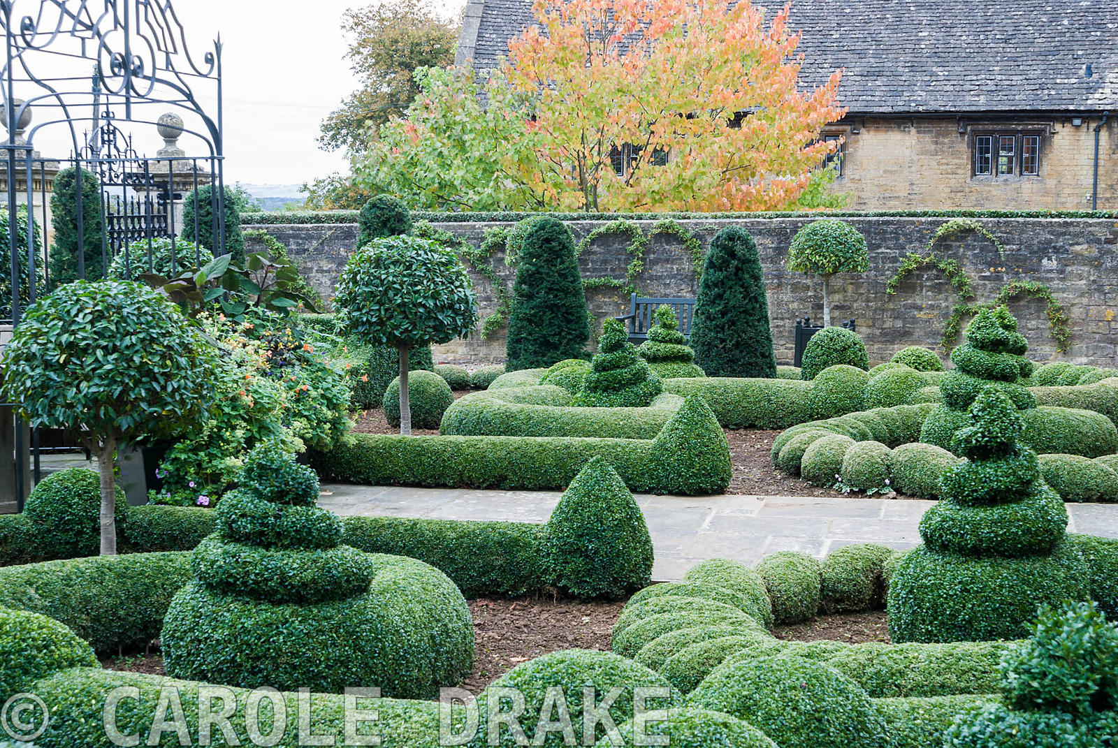 Clipped box and yew in the Parterre Garden punctuated by standard laurels and a gazebo and gates by Richard Overs. Bourton Ho...