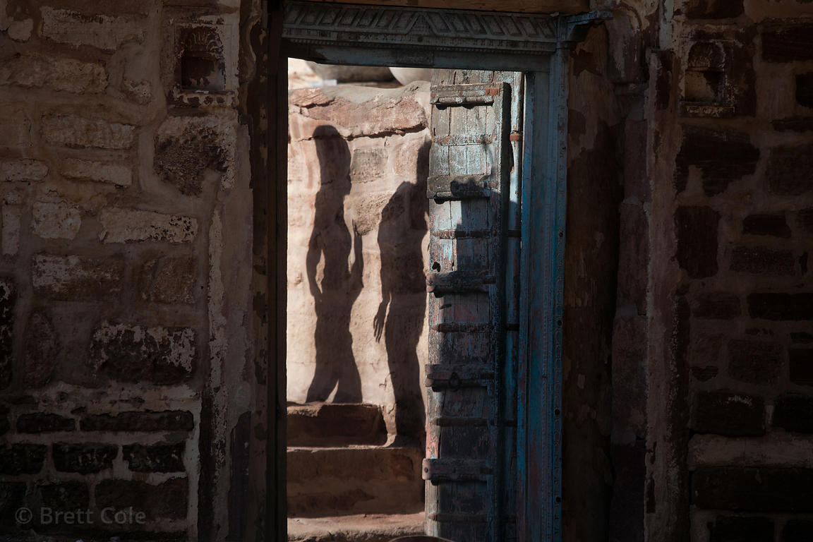 Shadowplay in a doorway at Mehrangarh fort, Jodhpur, Rajasthan, India