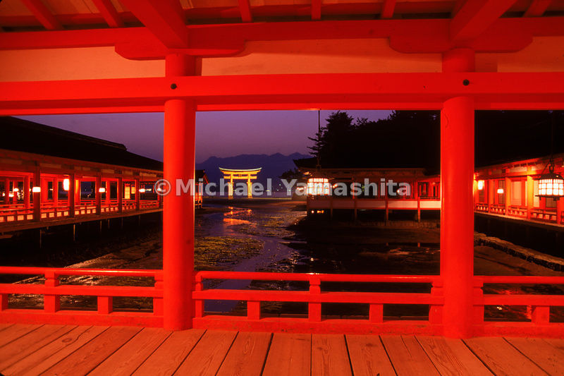 "Night view of the giant vermillion ""floating torii"" of Itsukushima Shrine, on Miyajima - one of Japan's ""three supreme views."""