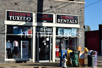 Tuxedo rental shop in Oak Cliff section of Dallas, Texas