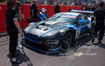 PGF-Kinfaun's Aston Martin Vantage GT3 on the start line at the Silverstone 500 - the third round of the British GT Champions...