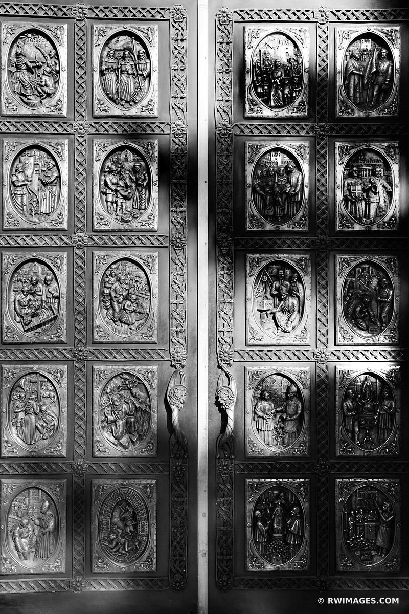 BRONZE DOORS SAINT FRANCIS CATHEDRAL SANTA FE NEW MEXICO BLACK AND WHITE