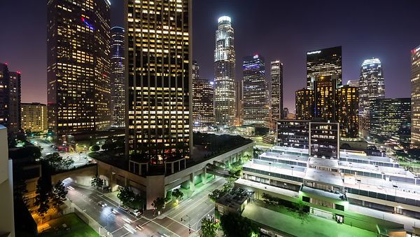 Medium Shot: Cars, a Crossroad, & High-rises Inside The Heart Of Downtown L.A.