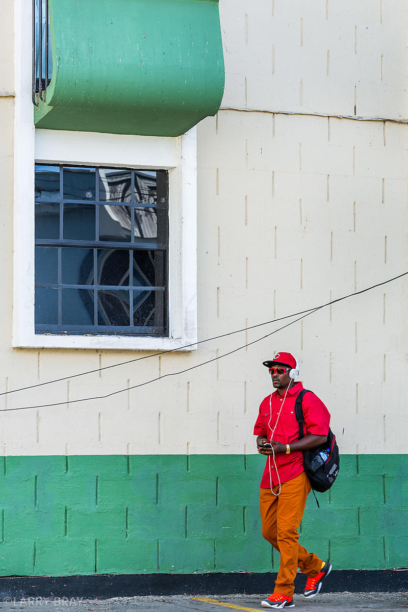 Cool dude in bright clothing in Castries, St Lucia