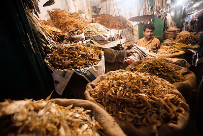 Dried fish for sale at a market in Bowbazar, Kolkata, India.