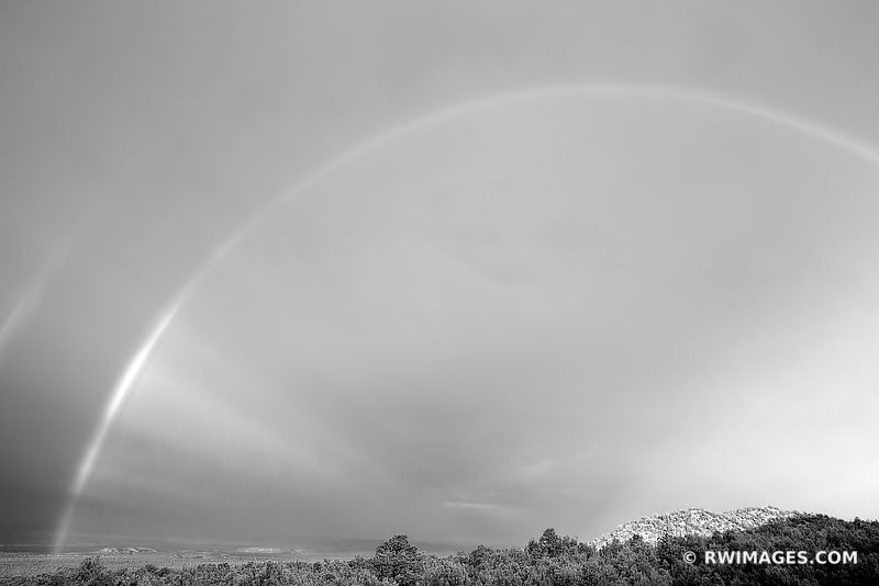 DOUBLE RAINBOW ENCHANTING LIGHT NORTHERN NEW MEXICO BLACK AND WHITE
