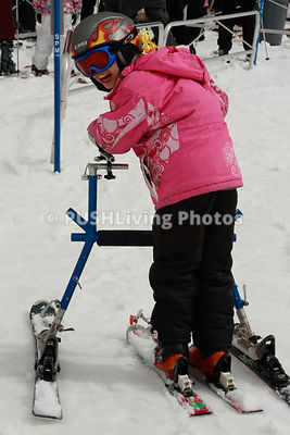 Children in an adaptive ski program
