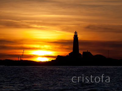 the Boston Light at sunset