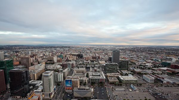 Bird's Eye: A Surging Day To Night Of Downtown L.A. Feeding Into South L.A.'s Horizon