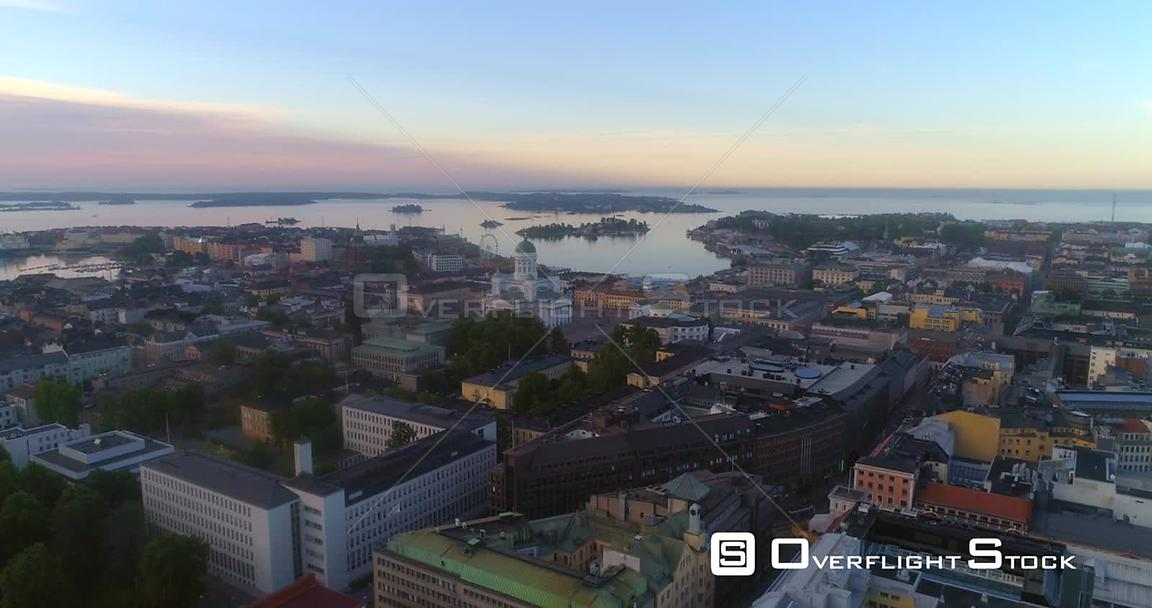 Sunrise in a City, Aerial Sideway View of Helsinki South Harbour and the Cathedral, on a Sunny Summer Morning Dawn, in Helsin...