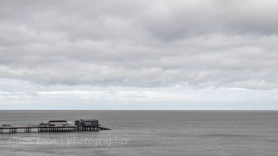 Cromer Pier and wind farm, Norfolk, UK