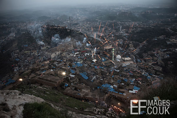 Newroz Fireworks Over Akre From Above