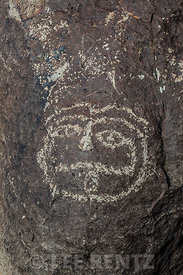 Rock Art Depicting Mask at Three Rivers Petroglyph Site
