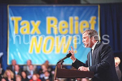 President George W. Bush delivers remarks on tax relief March 9, 2001 at Lafayette Regional Airport in Lafayette, LA.