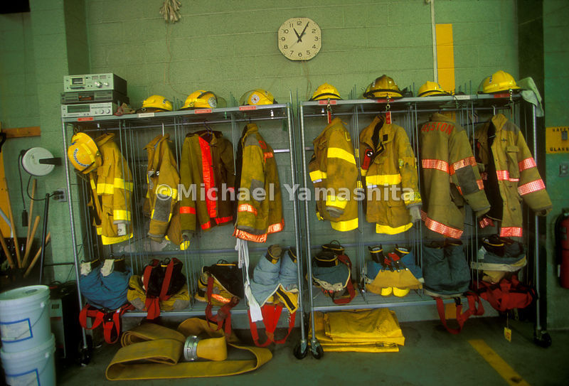 Fire gear inside a firehouse.
