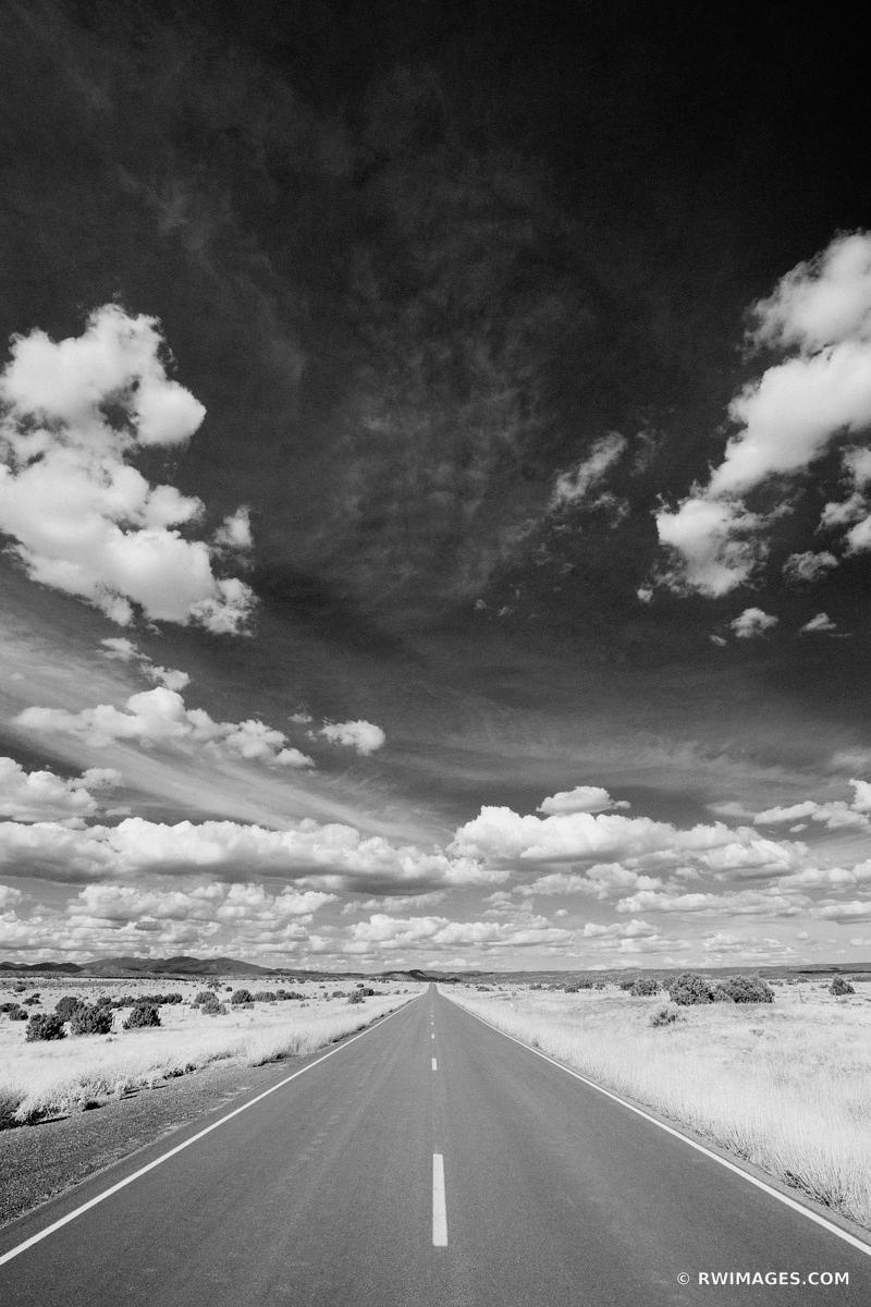 DRIVING TURQUOISE TRAIL ROAD NEW MEXICO BLACK AND WHITE VERTICAL