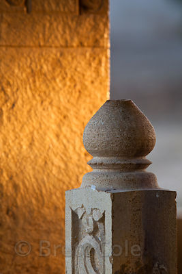 Early morning sun on a sandstone railing at Gadi Sagar, Jaisalmer, Rajasthan, India