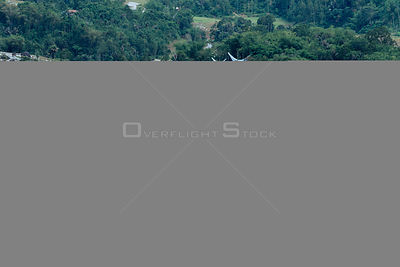 Landscape looking down onto flooded rice paddy fields, Central Sulawesi, Indonesia