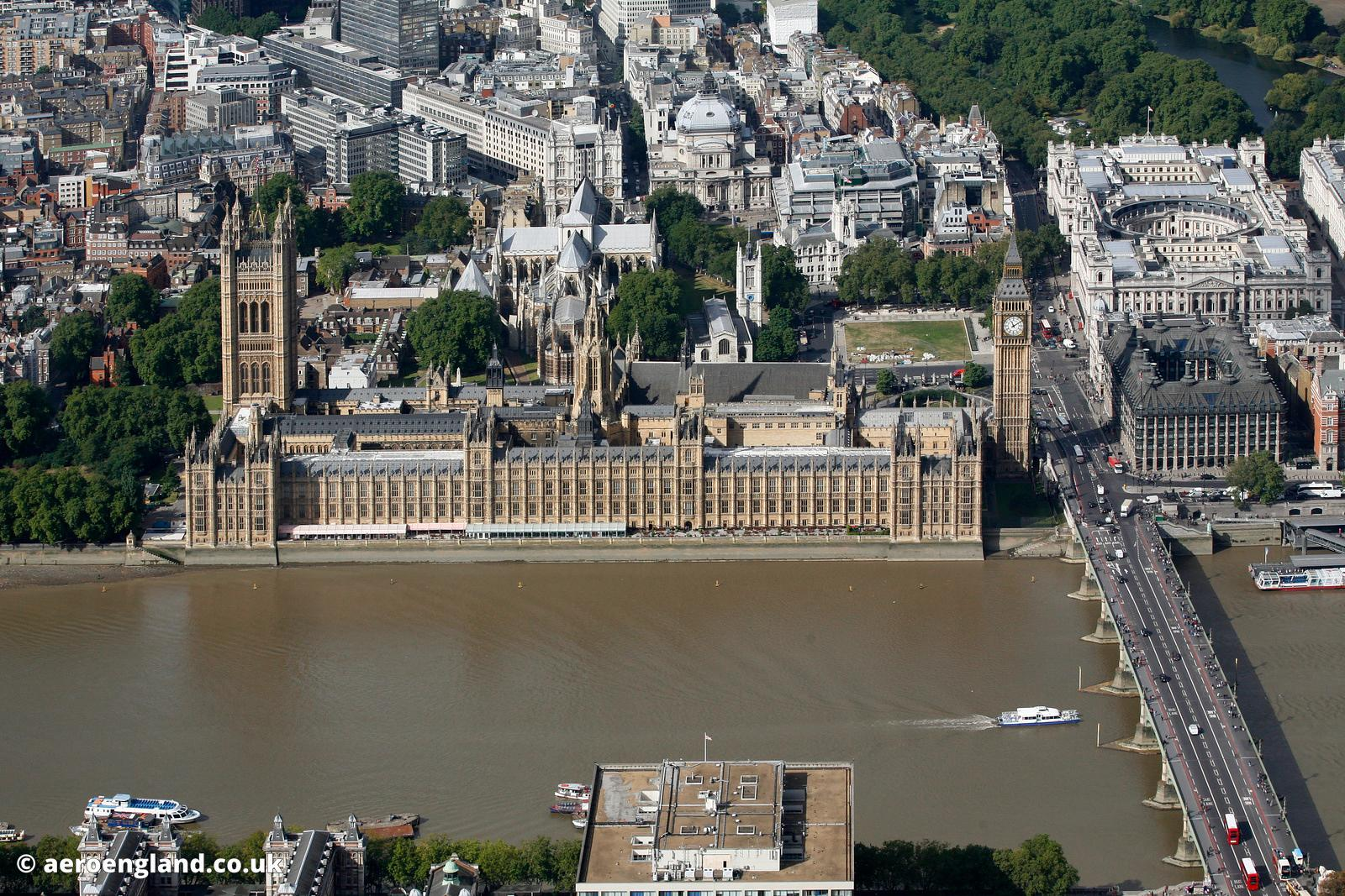 aerial photograph of the Houses of Parliament Westminster  London England UK SW1A 0AA including the House of Commons and the House of Lords