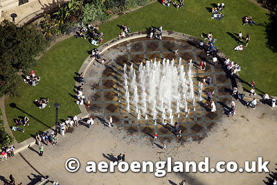 aerial photograph of fountain in Sheffield city centre  Yorkshire,  England UK