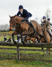Zoe Gibson jumping a hunt jump at Windmill Farm - The Cottesmore Hunt at Bleak House