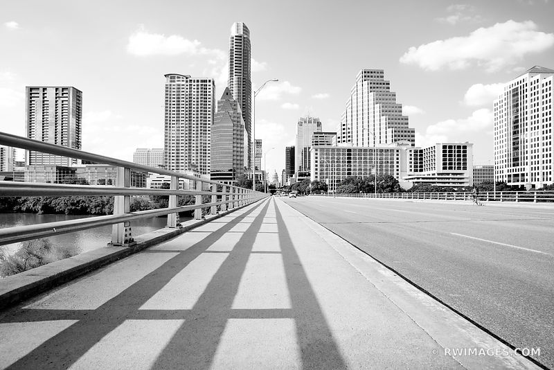 CONGRESS AVENUE BRIDGE DOWNTOWN AUSTIN TEXAS BLACK AND WHITE