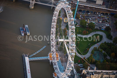 Aerial view of London, River Thames and Jubilee Gardens with London Eye.