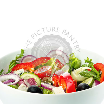 Greece vegetable salad on white background