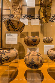 Display of Miwok and Paiute baskets in the Yosemite Museum, in Yosemite Valley