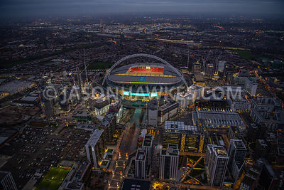 Dusk aerial view of Wembley Park and Wembley Stadium, Brent. England.