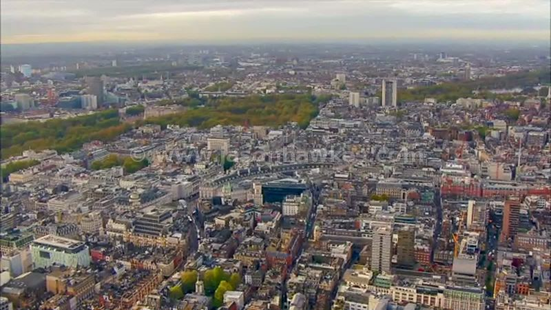 Aerial footage over Soho and St James's, London