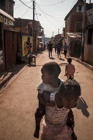 Young boys play on the street of the Manjakaray district, one of the poorest, most unhealthy and insecure districts in Antana...