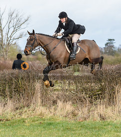 Jeremy Dale jumping a hedge at Eaton Grange. The Belvoir Hunt at Eaton Grange 7/2