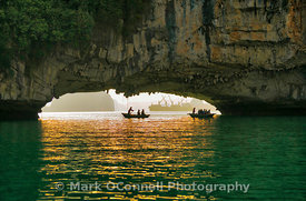 Large cave Halong bay Vietnam