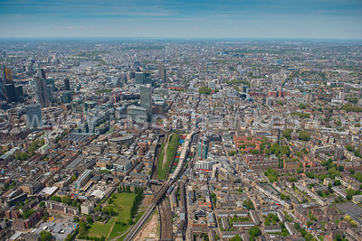 Aerial view of Shoreditch station, Tower Hamlets, London