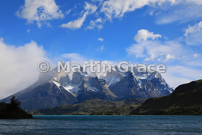 Looking north to the Paine Massif from Hosteria Pehoe, Torres del Paine National Park, Patagonia, Region XII Magallanes y Ant...
