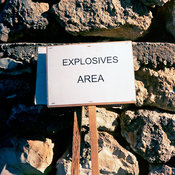 Lebanon - Tyre - A sign marking an exposives area