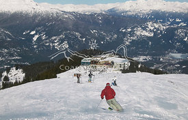 The Round House on Whistler Mountain, Whistler Village in Background.Whistler, British Columbia, Canada