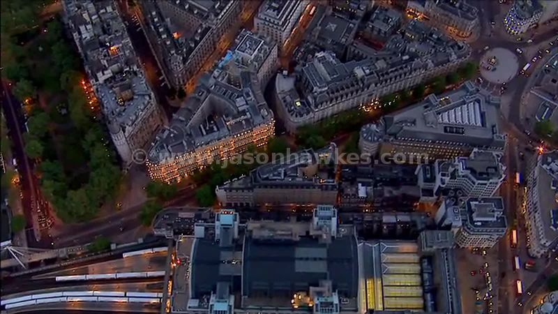 Aerial footage over Charing Cross Station, London, Englad, UK