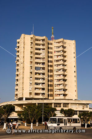 Mozambique, Beira, Highrise appartment building on Metical Square.
