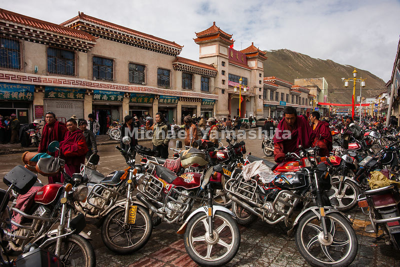 Local nomad market. Town is packed due to the snow. Since no one is out collecting yartsa gompo, everyone comes to town for s...