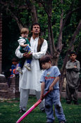 Imran Khan playing cricket with his nephews