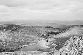 SUMMIT LAKE MOUNT EVANS ROAD SCENIC BYWAY ROAD COLORADO ROCKIES BLACK AND WHITE