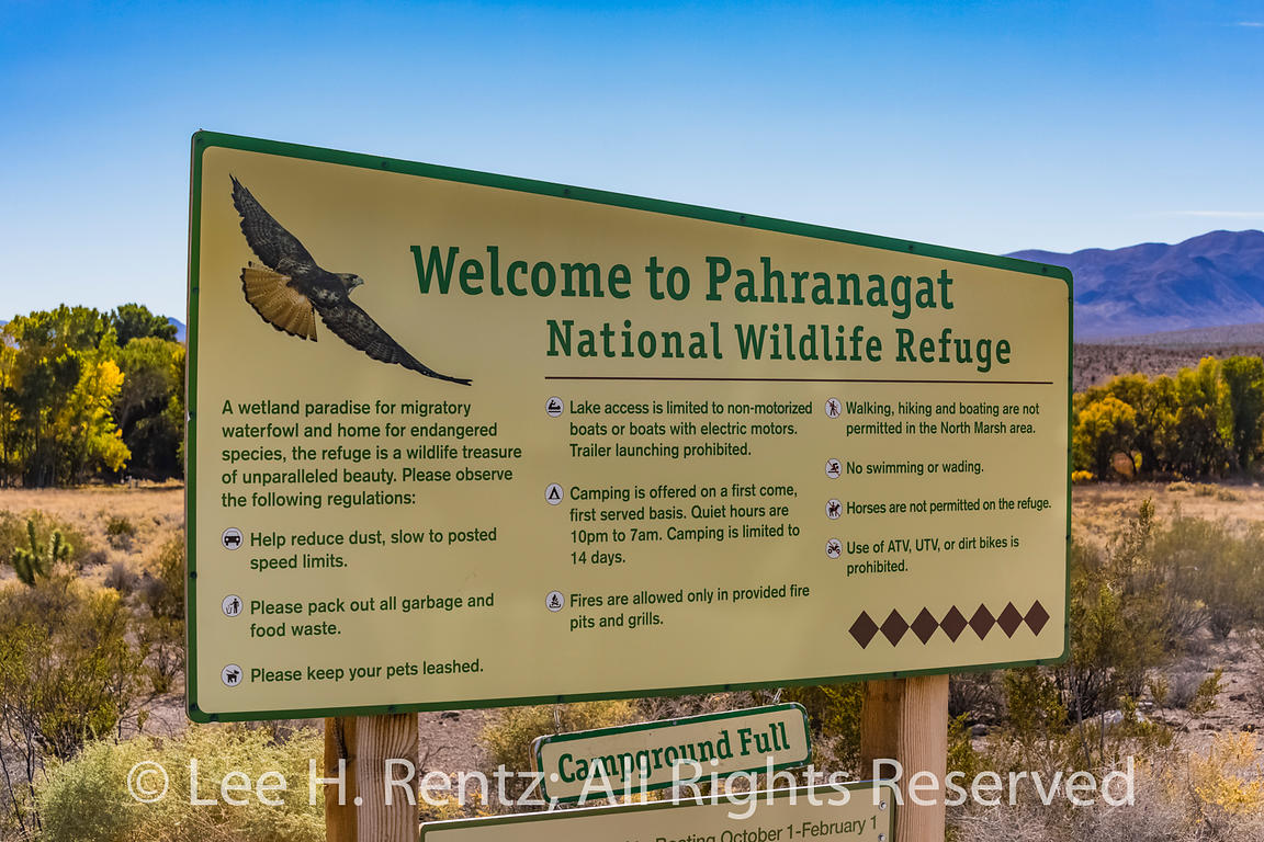 Sign for Pahranagat National Wildlife Refuge in Nevada